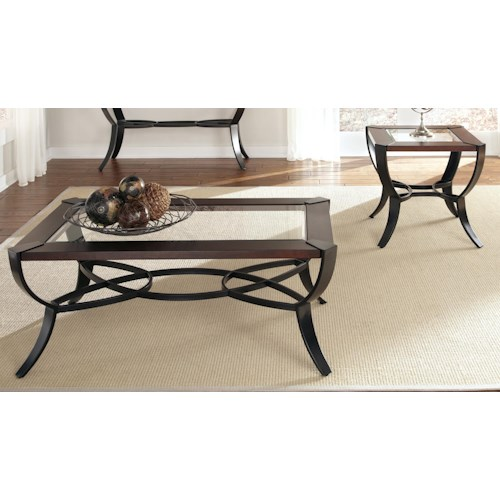 Vendor 5349 Skylights 3 Piece Cocktail and End Table Set with Metal Base and Glass Top