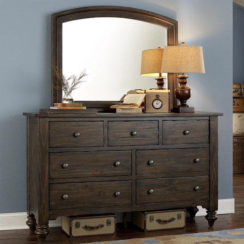 Liberty Furniture Southern Pines Dresser and Mirror made of Solid Pine