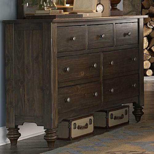 Vendor 5349 Southern Pines 7 Drawer Dresser made of Solid Pine