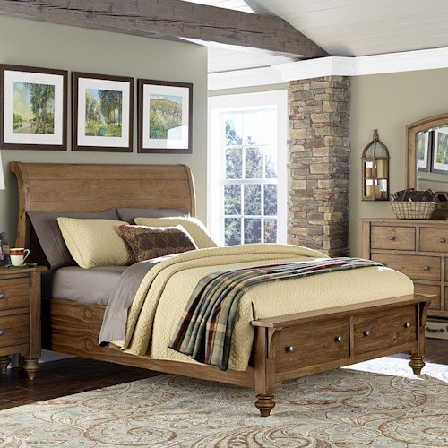 Vendor 5349 Southern Pines Queen Size Sleigh Bed with Storage made of Solid Pine