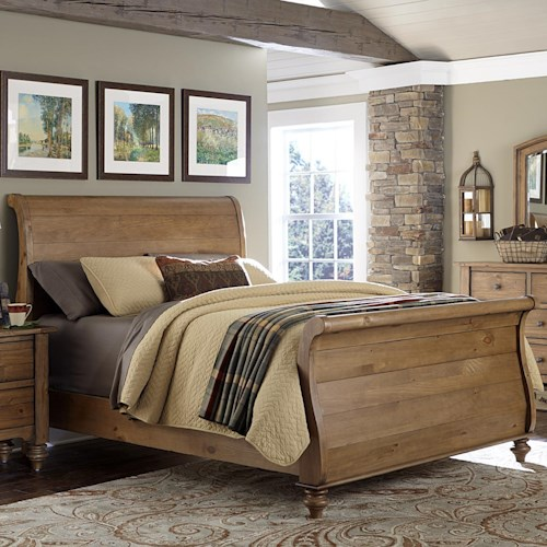 Vendor 5349 Southern Pines Queen Size Sleigh Bed made of Solid Pine