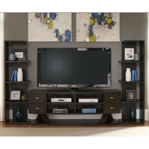 Liberty Furniture Southpark Entertainment Center with Piers and Crisscrossed Base