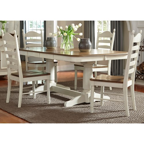 Vendor 5349 Springfield Dining 5 Piece Double Pedestal Table & Chair Set