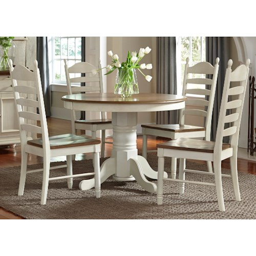 Liberty Furniture Springfield Dining Pedestal Table with Leaf
