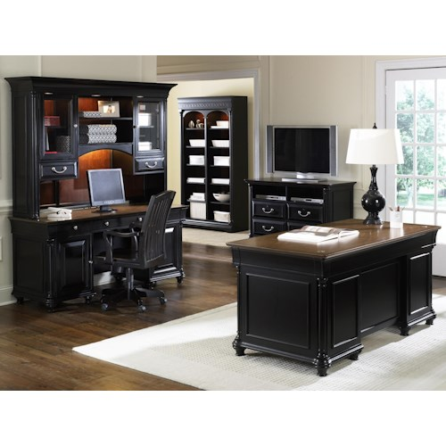 Liberty Furniture St. Ives Jr Executive Office Desk and Credenza with Hutch