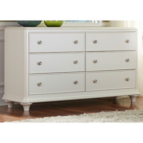 Vendor 5349 Stardust Contemporary Glam 6 Drawer Dresser with Crystal Knobs