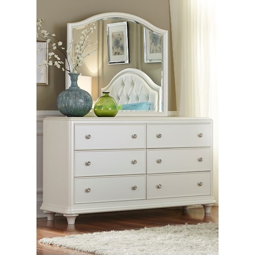 Liberty Furniture Stardust Contemporary Glam 6 Drawer Dresser and Mirror