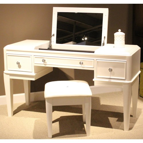 Vendor 5349 Stardust Contemporary Glam Youth Vanity and Bench