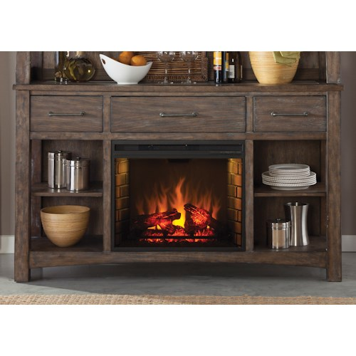 Vendor 5349 Stone Brook Rustic Buffet with Fireplace