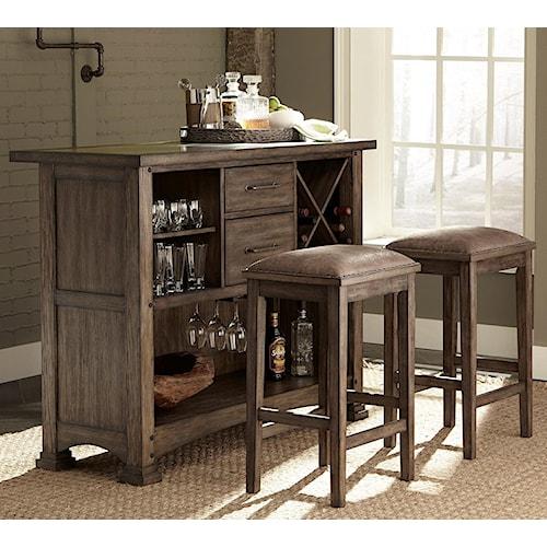 Liberty Furniture Stone Brook 3 Piece Bar and Stool Set