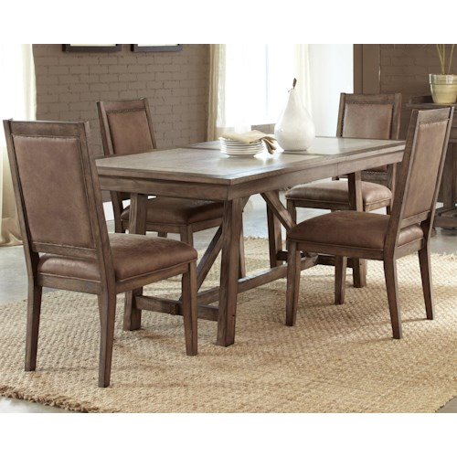 Vendor 5349 Stone Brook Casual 5 Piece Trestle Table Set