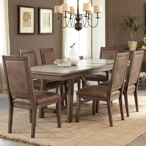 Vendor 5349 Stone Brook Casual 7 Piece Trestle Table Set