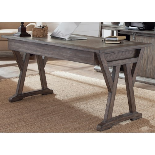 Liberty Furniture Stone Brook Laptop Desk with Double Pedestal Base