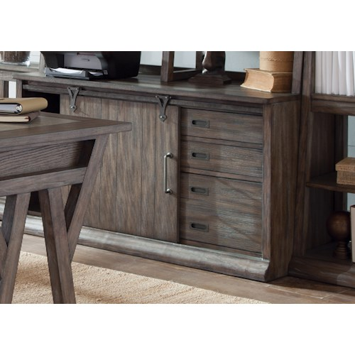 Liberty Furniture Stone Brook Computer Credenza in Distressed Wood Finish