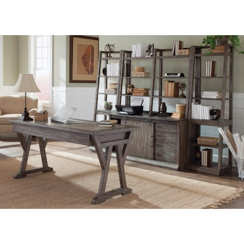 Liberty Furniture Stone Brook 5-Piece Desk with Distressed Wood Finish