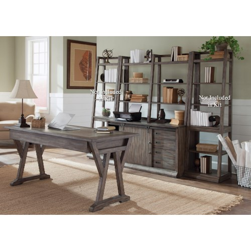 Liberty Furniture Stone Brook Complete Desk in Distressed Wood Finish