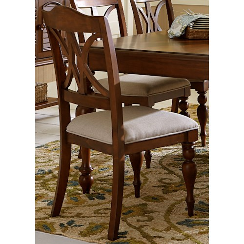 Liberty Furniture Summer House Transitional Upholstered Side Chair with Decorative Splat Backs