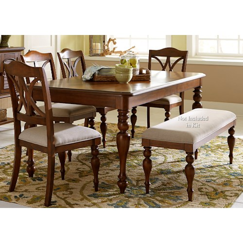 Liberty Furniture Summer House 5 Piece Rectangular Table Set with Turned Legs