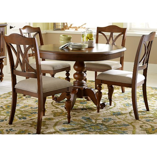 Liberty Furniture Summer House 5 Piece Round Table Set with Turned Legs