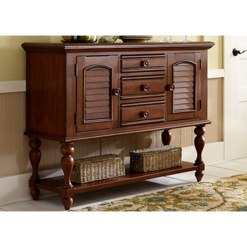 Liberty Furniture Summer House Transitional Server with Louvered Panel Accents