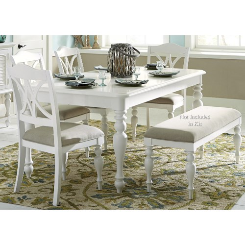 Liberty Furniture Summer House I 5 Piece Rectangular Table Set with Turned Legs