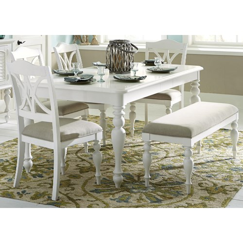 Liberty Furniture Summer House I 6 Piece Rectangular Table Set with Turned Legs