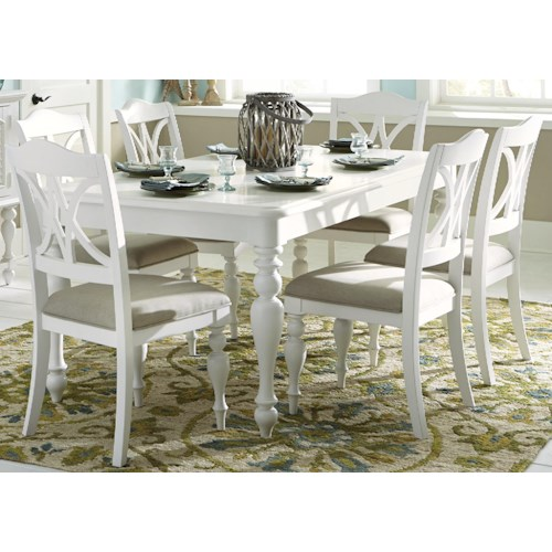 Liberty Furniture Summer House I 7 Piece Rectangular Table Set with Turned Legs