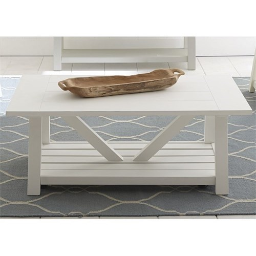 Liberty Furniture Summer House I Cocktail Table with Casters