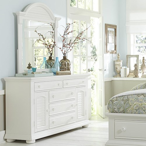 Vendor 5349 Summer House Cottage Dresser with Doors and Mirror