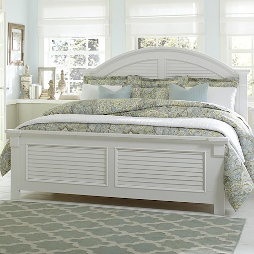 Liberty Furniture Summer House King Panel Bed with Louvered Accents