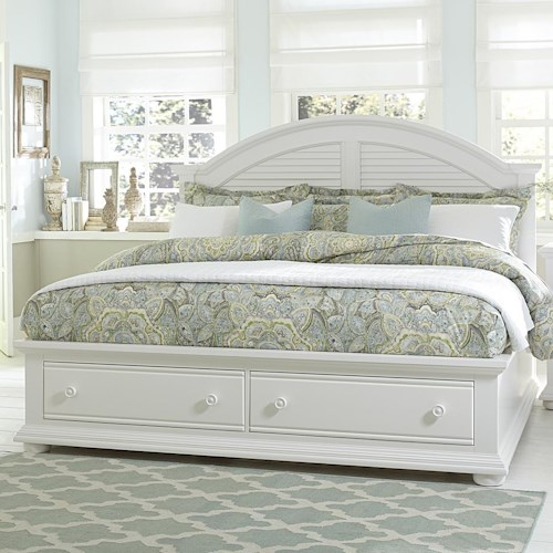 Vendor 5349 Summer House Cottage King Bed with Storage Footboard