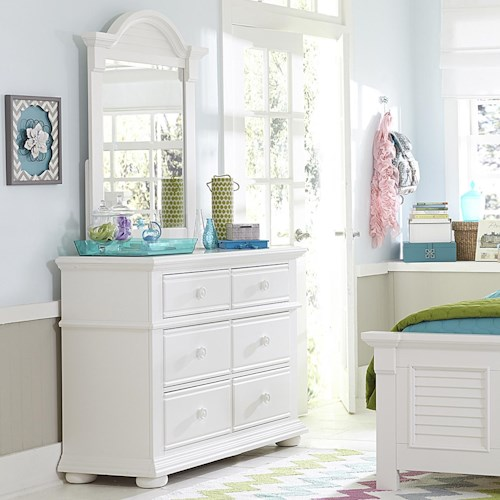 Liberty Furniture Summer House 6 Drawer Media Chest and Small Mirror