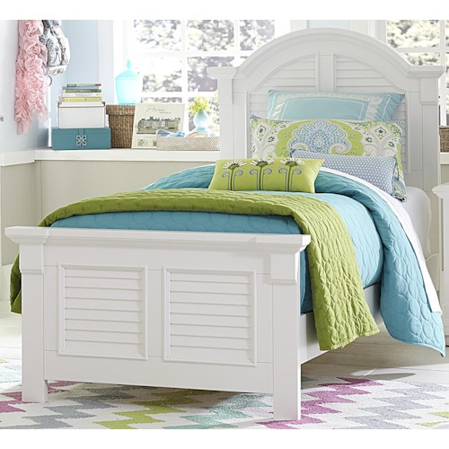 Vendor 5349 Summer House Twin Panel Bed with Louvered Accents
