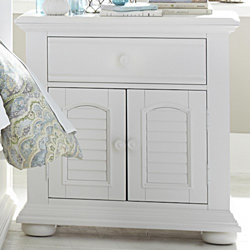Vendor 5349 Summer House Louvered 2 Door 1 Drawer Night Stand