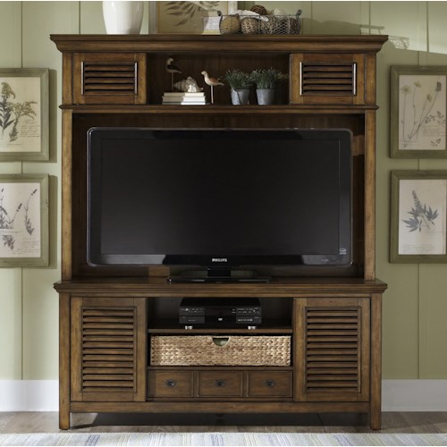 Liberty Furniture Summerhill II Entertainment Center with Drawer, Sliding Doors, and Adjustable Center Shelf