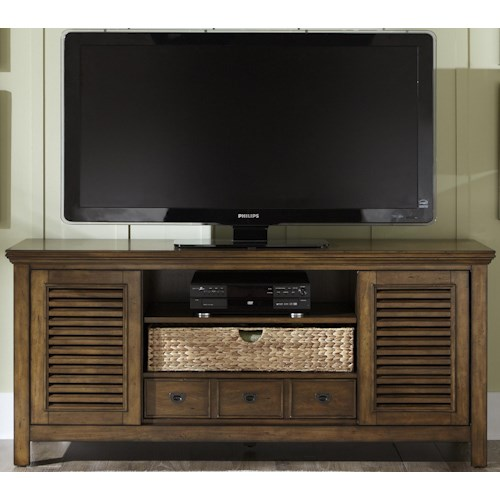 Vendor 5349 Summerhill II Entertainment TV Stand with Drawer, Sliding Doors, and Adjustable Center Shelf