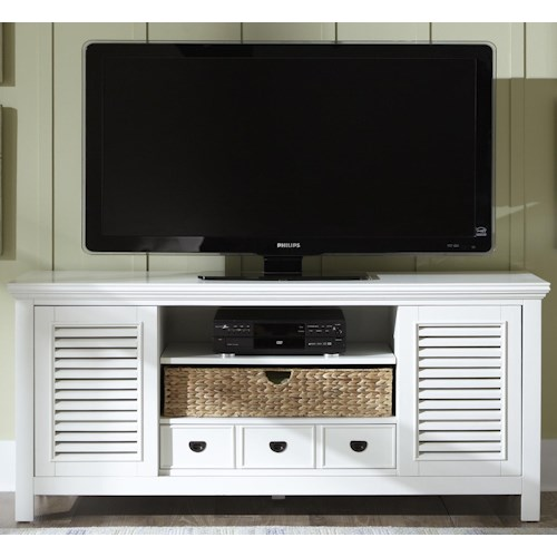 Vendor 5349 Summerhill Entertainment TV Stand with Drawer, Sliding Doors, and Adjustable Center Shelf