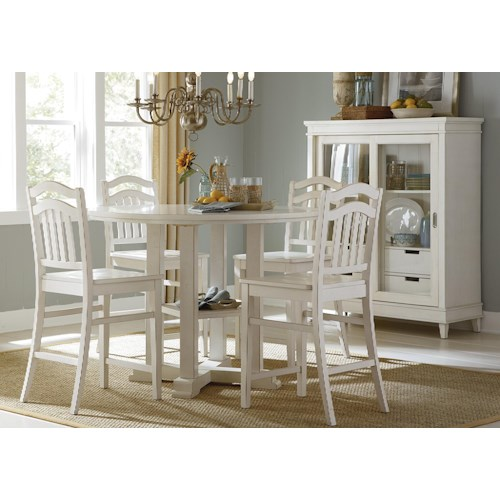 Liberty Furniture Summerhill Five-Piece Counter Height Gathering Table and Stool Set