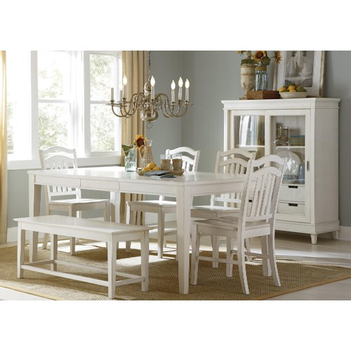 Liberty Furniture Summerhill Six-Piece Rectangular Table, Bench, and Chair Dining Set