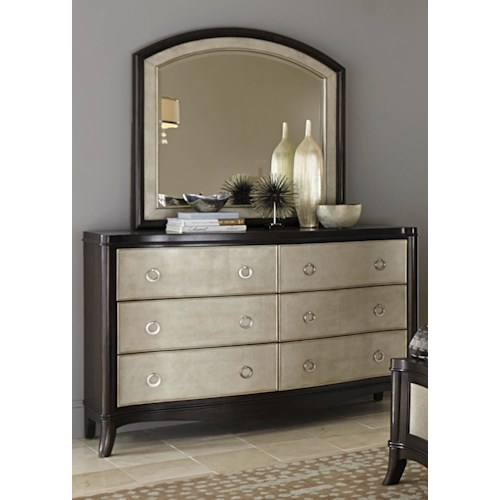 Liberty Furniture Sunset Boulevard Dresser with 6 Drawers and Mirror