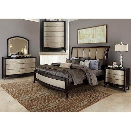 Vendor 5349 Sunset Boulevard Queen Sleigh Bed, Dresser & Mirror, Chest, N/S
