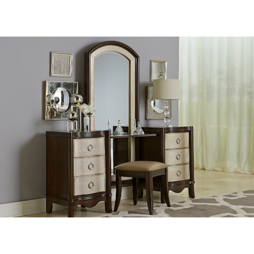 Liberty Furniture Sunset Boulevard Glamorous 6 Drawer Vanity with Serpentine Shape