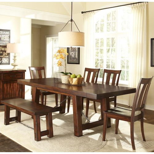 Vendor 5349 Tahoe 6 Piece Dining Table and Slat Back Chair Set with Backless Dining Bench
