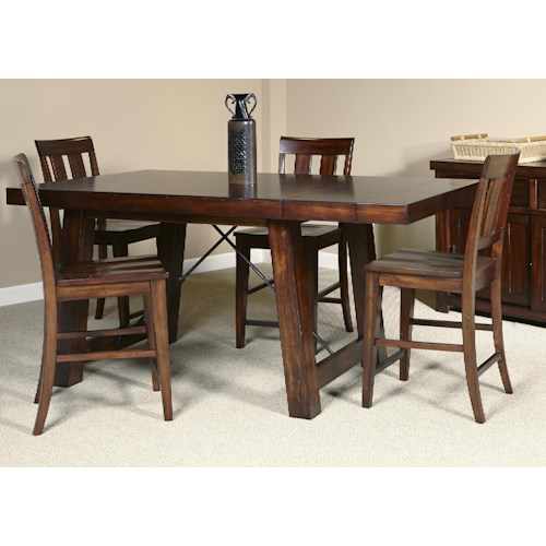 Liberty Furniture Tahoe 5 Piece Gathering Table with Slat Back Counter Height Chair Set