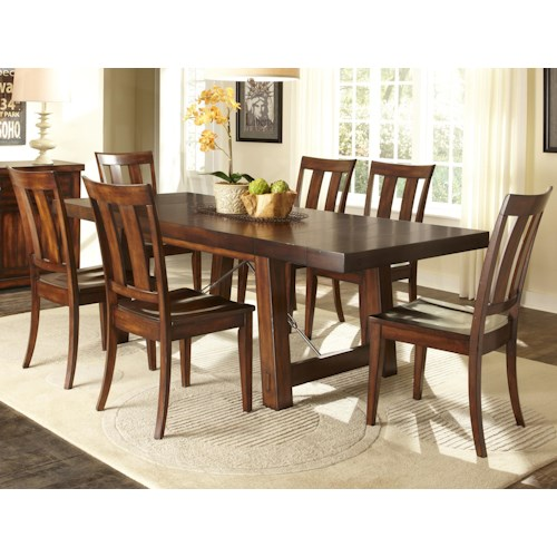 Vendor 5349 Tahoe 7 Piece Dining Table with Slat Back Chair Set