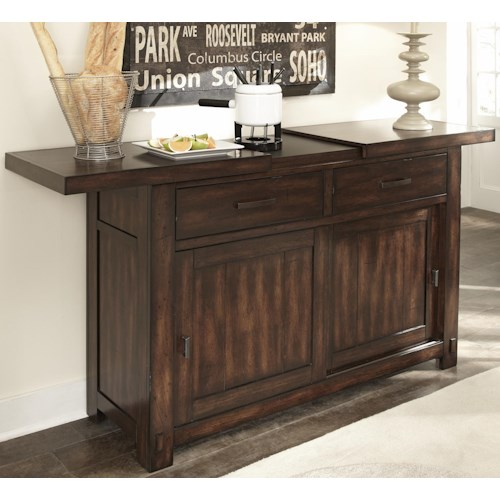 Liberty Furniture Tahoe Server with Drawers and Sliding Doors with Hidden Wine Storage