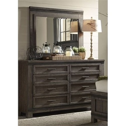 Liberty Furniture Thornwood Hills Dresser with Eight  Dovetail Drawers and Mirror with Wood Frame