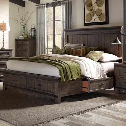 Liberty Furniture Thornwood Hills King Two Sided Storage Bed with Dovetail Drawers