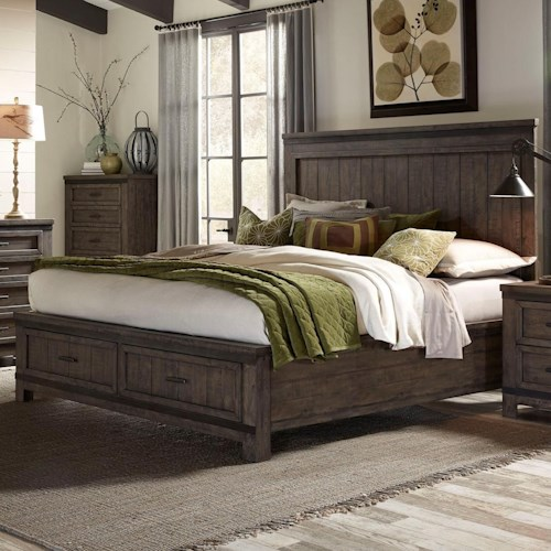 Liberty Furniture Thornwood Hills King Storage Bed with Two Dovetail Drawers