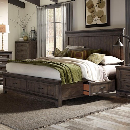 Liberty Furniture Thornwood Hills Queen Two Sided Storage Bed with Dovetail Drawers